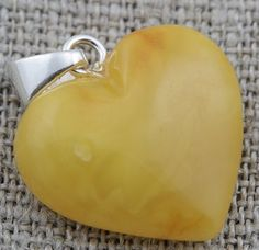 heart pendant made of baltic amber