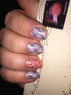 Upper East Side and Bookworm Jamberry wraps #manicure #nails #nailart #plaid #burberry #glasses #orange