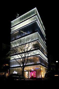 Dior building by night in Omotesando Tokyo, Japan (Mar 2007) by Cor Lems, via Flickr
