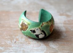 Cat Jewelry Gift, Cat Bracelet, Animal Bangle, Green Bangle, Cat Wood Jewelry…