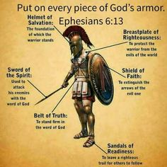 The full armor of God Armor Of God Tattoo, Ephesians 6 13, Warriors Standing, Helmet Of Salvation, Belt Of Truth, Bible Knowledge, Spiritual Warfare, Bible Scriptures, Deus Vult