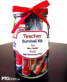 "Great way to celebrate teachers! Instructions and tags for filling a mason jar as a sweet and thoughtful ""survival kit"" for teachers: aspirin, hand sanitizer, high-energy snack, stain remover pen, a gift card for coffee, hand lotion, chewing gum, antacid, and ear plugs."