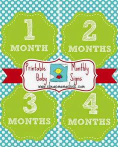 Free printable baby month by month. Take a monthly picture as baby grows!