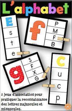 L'alphabet - majuscules/minuscules. 2 jeux d'association. Associer les lettres majuscules aux lettres minuscules qui correspondent et vice versa. Pratiquer la reconnaissance des lettres de l'alphabet dans les centres de littératie.
