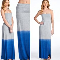 Dip Dyed Sleeveless Maxi Dress or Skirt Dip dyed dress or maxi skirt.  Versatile to be worn as a dress or skirt! Material is 95% rayon and 5% spandex.  Approximate measurements: small waist 23 - 27 inches, hips 34 inches, length of dress 45 inches.  Medium bust 24-28 inches, waist 35 inches, length 46. Large waist 26-30 inches , waist 38 inches, length 47 inches. Skirts