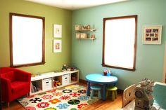 Paint colors: grass cloth & balmy seas.  Behr @ Home Depot.