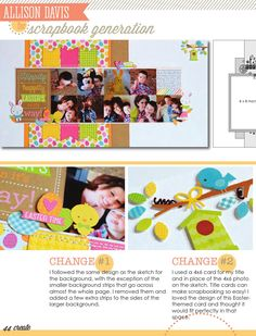 CREATE: Issue March 2015 Scrapbook pages, cards, embellishments and more featuring Scrapbook Generation's exclusive sketches. Scrapbook Sketches, Scrapbook Page Layouts, Kids Scrapbook, Scrapbook Cards, Silhouette Cameo Cards, Celebration Love, Scrapbook Generation, Easter Parade, Animal Cards