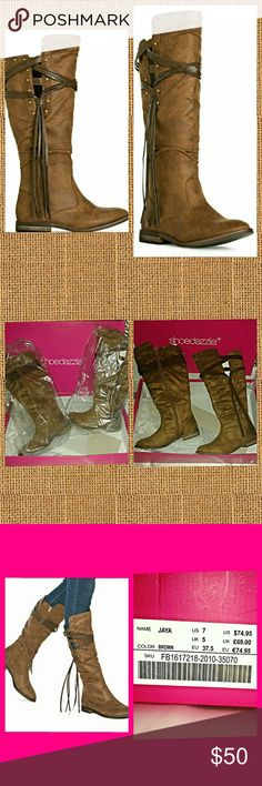 """JAYA BROWN BOOTS! NEW WITH BOX! These boots have only been tried on and worn around the house.  MATERIAL: Faux-leather. Imported. COLOR:BROWN OUTSIDE HEEL HEIGHT:1"""" CALF CIRCUMFERENCE:14.5"""" FIT:True to size SHAFT HEIGHT:13.25"""" CLOSURE:Functional inner zip Shoe Dazzle Shoes Lace Up Boots"""