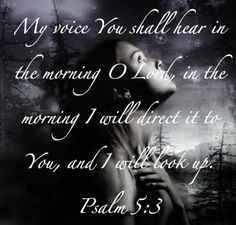 Psalm 5:3 (KJV)   My voice shalt thou hear in the morning, O Lord; in the morning will I direct my prayer unto thee, and will look up.