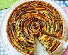 Summer vegetable and pesto tart. Spelt flour gives the pastry a nutty flavour which works so well with the pesto. Serve this stunning tart warm or cold and prepare for jaws to drop Bbc Good Food Recipes, Vegetarian Recipes, Cooking Recipes, Yummy Food, Vegetarian Pesto, Soup Recipes, Dinner Recipes, Vegetable Tart, Slider Buns