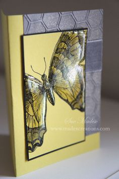 By Sue Madex using Swallowtail stamp and Honeycomb embossing folder