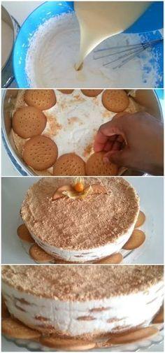 Bolo de Bolacha Maria #bolo #bolacha #maria #receita #gastronomia #culinaria #comida #delicia #receitafacil