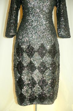 Vintage  1950s Pewter Silver-and-Black Fully Sequined Wiggle Dress