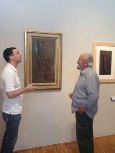 Museo Arte Contemporanea donazione opera #DoloresPuthod les pleureuses con il direttore del Museo #PaoloBolpagni e il curatore #FrancoRudoni durante l'allestimento
