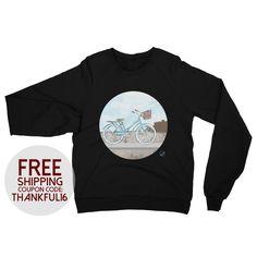 Beach Cruiser Raglan Sweater Adult Unisex by LeahOwenArt on Etsy https://www.etsy.com/listing/480139338/beach-cruiser-raglan-sweater-adult