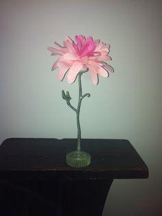 Fabric and metal dahlia flower Dahlia Flower, Flowers, Vase, Metal, Fabric, Design, Home Decor, Tejido, Tela