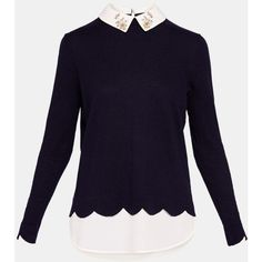 Embellished collar jumper (£130) ❤ liked on Polyvore featuring tops, sweaters, long sleeve tops, embellished long sleeve top, purple sweater, scallop edge top and ted baker sweater