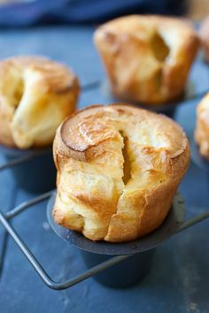 Popovers - American version of Yorkshire pudding. Popovers are tender ...