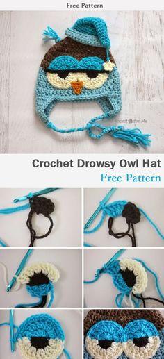 Crochet Drowsy Owl Hat Free Pattern