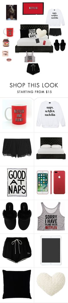 """""""Netflix, Nutella and naps❤️"""" by sabellacunningham ❤ liked on Polyvore featuring Heidi Klum, Safavieh, Minnie Rose, Off-White, Kevin O'Brien and Nevermind"""