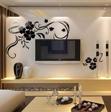 Superior Free Shipping Crystal 3D Wall Stickers TV Home Decoration Big Black  Flowers/Vinyl Wall Decals