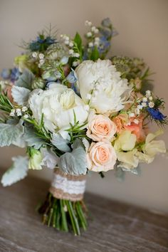 Flowers Bouquet Peonies Roses Peach Blue Green Summer Bride Bridal Natural Soft Stylish Luxe Wedding www. Hand Bouquet Wedding, Blue Wedding Flowers, Wedding Flower Arrangements, Bride Bouquets, Bridal Flowers, Wedding Colors, Floral Arrangements, Wedding Centerpieces, Hand Tied Bouquet