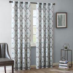 """Ankara Cotton Printed Curtain Panel Aqua (Blue) 50""""x63"""""""