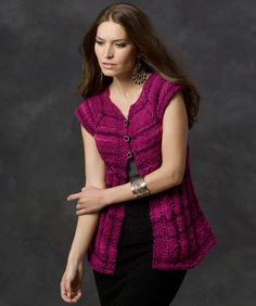 Lace Edge Vest By Ann Regis - Free Knitted Pattern - (redheart)
