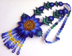 Mexican Huichol Beaded Flower Necklace by Aramara on Etsy, $45.00