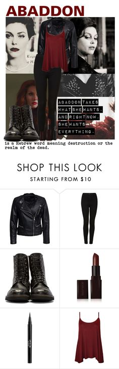 """Abaddon l Supernatural"" by whispers-in-the-dark01 ❤ liked on Polyvore featuring Columbia, Sisters Point, Topshop, Laura Mercier, Stila, WearAll, supernatural, spn and abaddon"