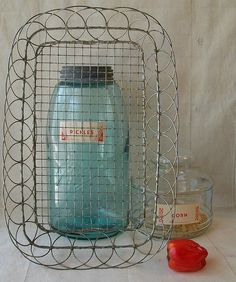 Wire ware bread basket ~ Ooo, and love the Ball canning jar!