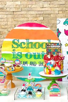 Don't miss this colorful graduation party! The party food is fantastic! See more party ideas and share yours at CatchMyParty.com #catchmyparty #partyideas #graduation #schoolsout #graduationparty