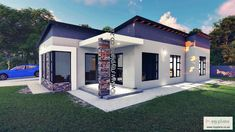 2 Bedroom House Plan MLB 107.4S - My Building Plans South Africa My Building, Building Plans, Kitchen Wardrobe Design, 2 Bedroom House Plans, Modern House Facades, Tuscan House, Double Garage, Facade House, Open Plan