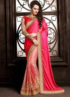 Pink Embroidery Work Net Fancy Designer Half N Half Wedding Sarees  http://www.angelnx.com/Sarees/orange-embroidery-work-chiffon-fancy-designer-sarees-online_16447