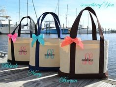 Set of 9 Personalized Natural Canvas Large Boat Totes with Ribbon Bow - Initial and Name Tote - bridesmaids gifts large group weddings nine