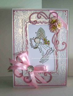 Baby Girl Christening Card using a stamp from LOTV, Lili Of The Valley, dies from Spellbinders - Radient Rectangles and Crafts Too - Flourish.  Crafters Companion A4 Embossalicious Folder - Rose Swirl and Creative Expressions Dazzler. Flowers from Wild Orchid Crafts.