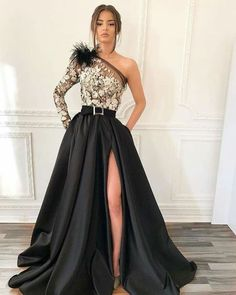 Shop long prom dresses and formal gowns for prom 2019 at Kemedress. Prom ball gowns, long evening dresses, mermaid prom dresses, long dresses for prom,body type & fashion sense. Check out selection and find the prom dress of your dreams! Split Prom Dresses, Evening Dresses With Sleeves, Prom Dresses Long With Sleeves, Black Prom Dresses, Elegant Dresses, Homecoming Dresses, Sexy Dresses, Beautiful Dresses, Fashion Dresses