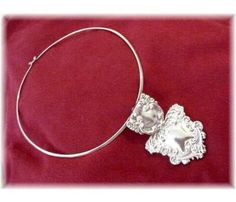 Mexico ~ Mexican Sterling Silver Choker with Scrolls Repousse Pendant Brooch - Vintage Jewelry