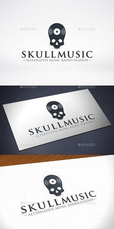 Skull Music Logo Design Template Vector #logotype Download it here: http://graphicriver.net/item/skull-music-logo-template/11578066?s_rank=821?ref=nexion