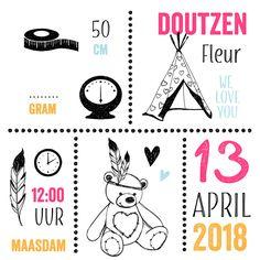 #hipdesign #birthcard #meisjes #geboortekaartje #kleurrijk #illustraties #teddybeer #veren #tipi