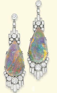 Art Deco Black Opal ear pendants from Jewelry Nerd