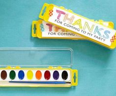 Send a little inspiration home with these easy favors. Before the party, print copies of a thank-you message and have your child paint them with watercolors. Use pretty tape to affix the notes to the paint sets.                 Originally published in the October 2013 issue of FamilyFun