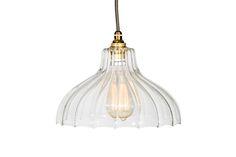 Ribbed Glass Factory Pendant Light