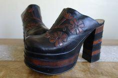Buffalo Leather Platform Shoes, Flower Detail, UK Size 6, Euro 39. on Etsy, $155.49