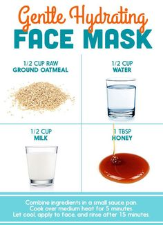 Oatmeal and honey face mask and peeling help to remove dead cells .Oatmeal and honey face masks and scrubs help to remove dead cells, minimize wrinkles, prevent acne and moisturize the skin. Read how it Diy Mask, Diy Face Mask, Oatmeal Face Mask Diy, Diy Hydrating Face Mask, Oats Face Mask, Diy Beauty Face Mask, Honey Face Mask, Easy Face Masks, Facial Cleanser