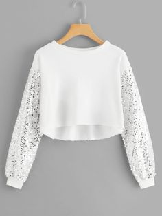 Shop Contrast Sequin Solid Crop Top at ROMWE, discover more fashion styles online. Cute Girl Outfits, Cute Casual Outfits, Pretty Outfits, Stylish Outfits, Girls Fashion Clothes, Teen Fashion Outfits, Mode Outfits, Stylish Dresses For Girls, Stylish Dress Designs