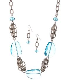 Take a look at the Aqua & Silver Bead Chain Necklace & Drop Earrings on #zulily today!