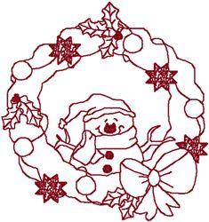 Happy Snowman Wreath Embroidery Design