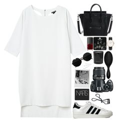 """""""i've got a war in my mind"""" by janeorlova ❤ liked on Polyvore featuring Monki, adidas Originals, Versace, Topshop, Daniel Wellington, Rituals, Sephora Collection, Nikon, Conair and Bobbi Brown Cosmetics"""