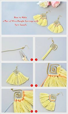 How to make a pair of wire dangle earrings with yarn tassels